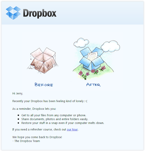 example of outreach from Dropbox