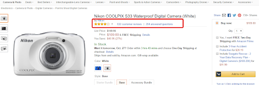 highlighting reviews on amazon listing