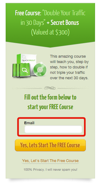 email only optin form for growth