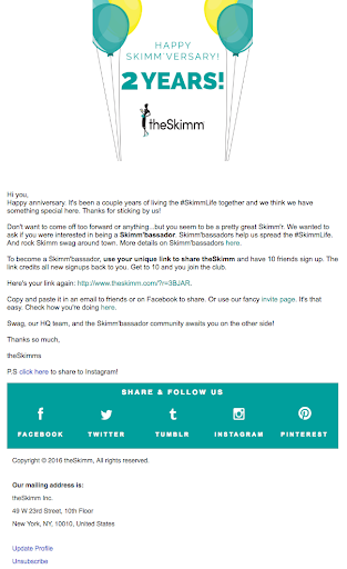 email example from theSKimm