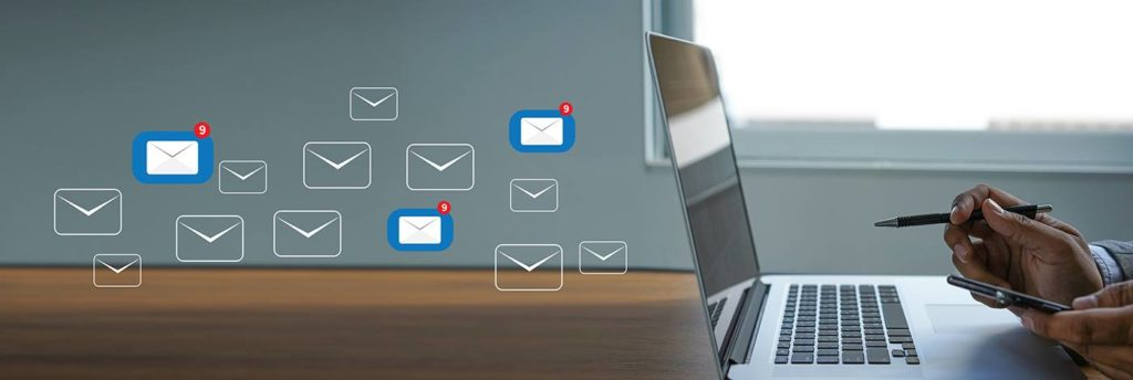 email campaigns being sent from laptop
